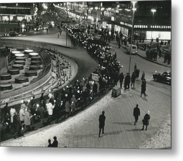 Great Vietnam-demonstration In Stockholm Metal Print by Retro Images Archive