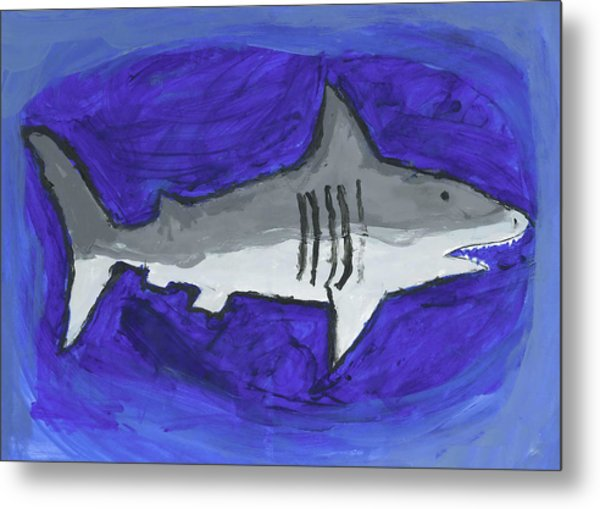 Great White In The Deep Blue Sea Metal Print by Fred Hanna