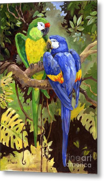 Green And Blue Tropical Macaw Metal Print