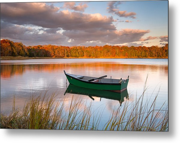 Green Boat On Salt Pond Metal Print