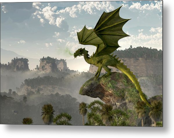 Green Dragon Metal Print