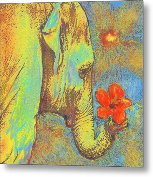 Green Elephant Metal Print