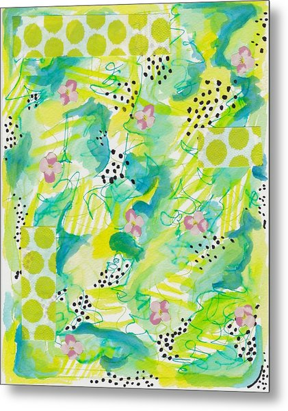 Green Floral Abstract Metal Print