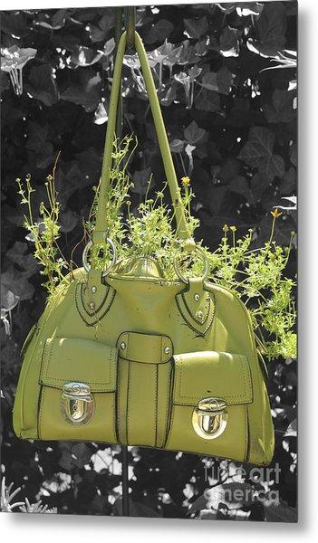 Green Flower Bag Metal Print