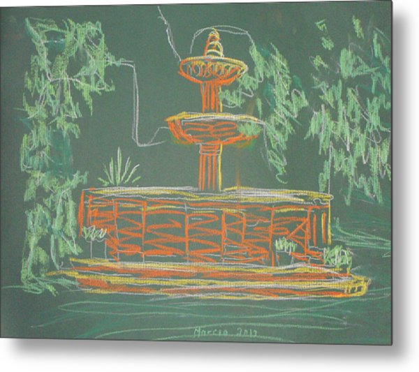 Green Fountain Metal Print by Marcia Meade