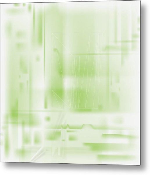 Green Ghost City Metal Print