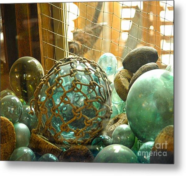 Green Glass Japanese Glass Floats Metal Print