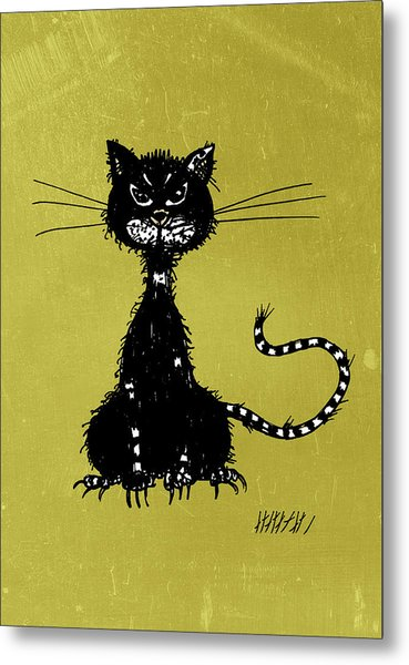 Green Grunge Evil Black Cat Metal Print