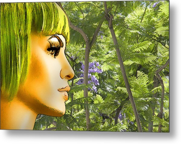 Green Hair And Jacaranda  Metal Print