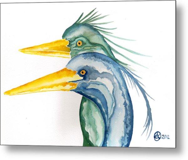 Green Herons Metal Print by Alexandra  Sanders