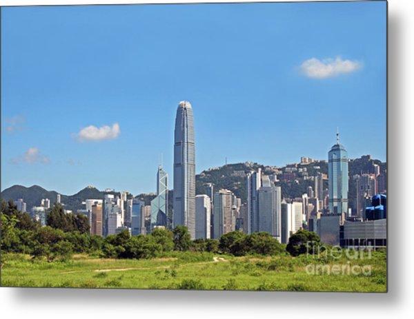 Green Hong Kong Skyline Metal Print by Lars Ruecker