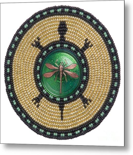 Green Jewel Dragonfly Turtle Metal Print