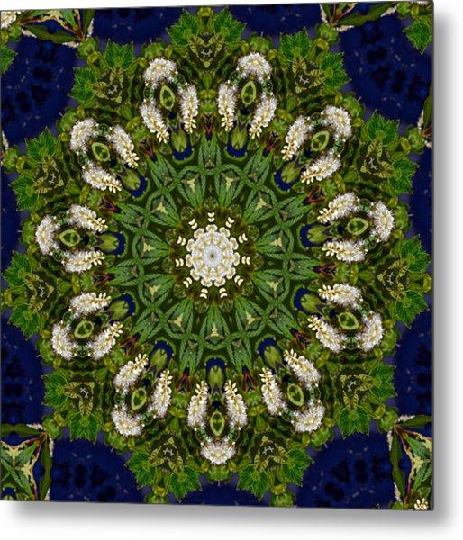 Green Leaf White Flower Mandala Metal Print