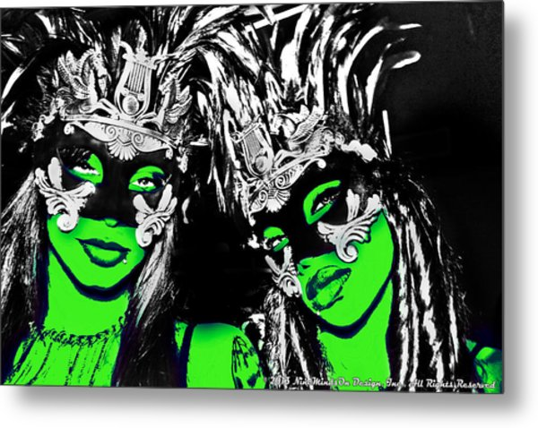 Green Mask  Metal Print by Ley Clarie Gray