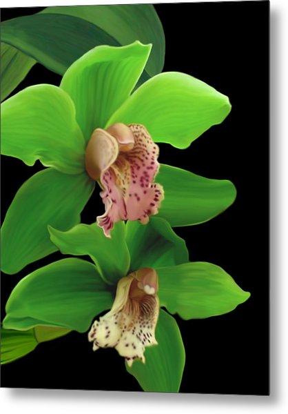 Green Orchids Metal Print