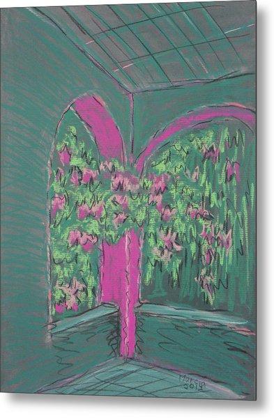 Green Patio Metal Print by Marcia Meade