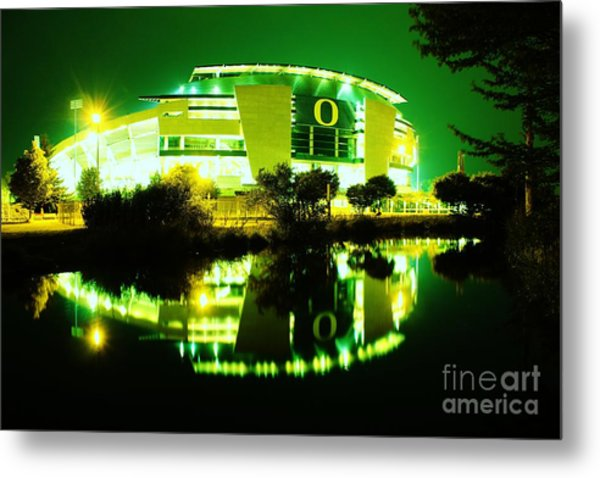 Green Power- Autzen At Night Metal Print