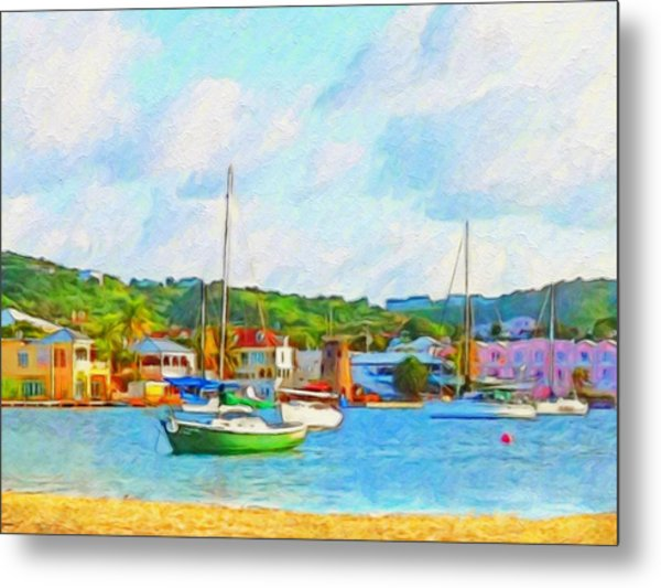 Green Sailboat On Mooring - Horizontal 1 Metal Print