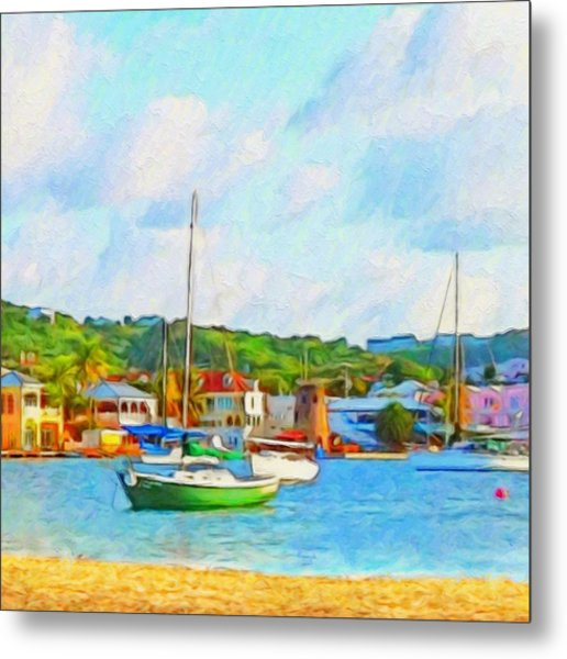 Green Sailboat On Mooring - Square Metal Print