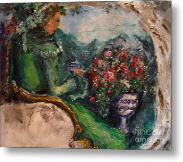 Metal Print featuring the painting Green Tea In The Garden by Laurie Lundquist