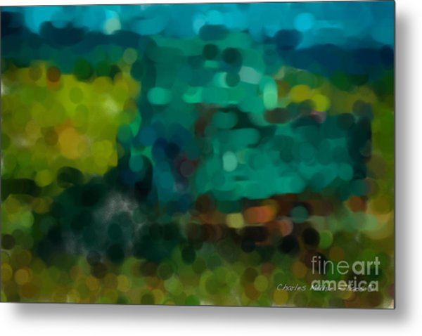 Green Truck In Abstract Metal Print