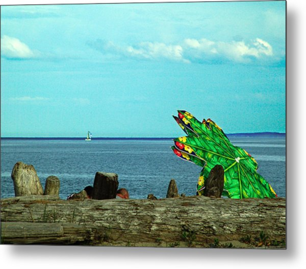 Green Umbrella Metal Print