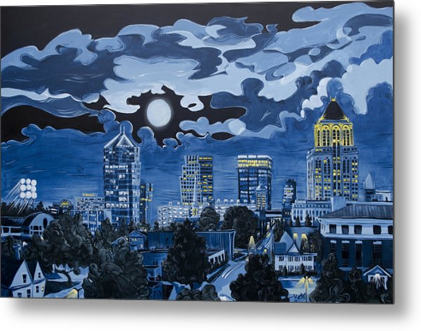Greensboro Night Skyline Metal Print