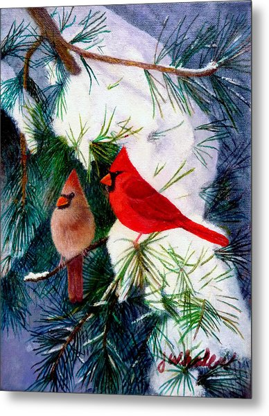 Greeting Cardinals Metal Print