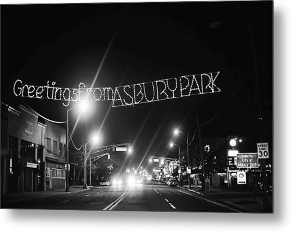 Greetings From Asbury Park New Jersey Black And White Metal Print