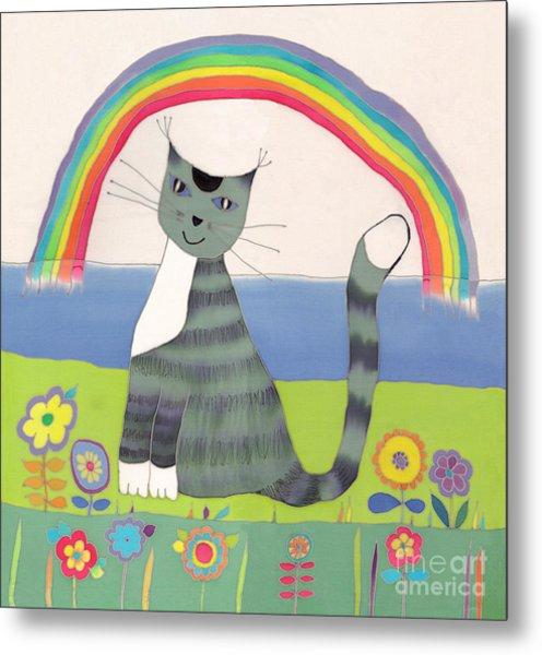 Grey Cat Under Rainbow Metal Print by Yana Vergasova