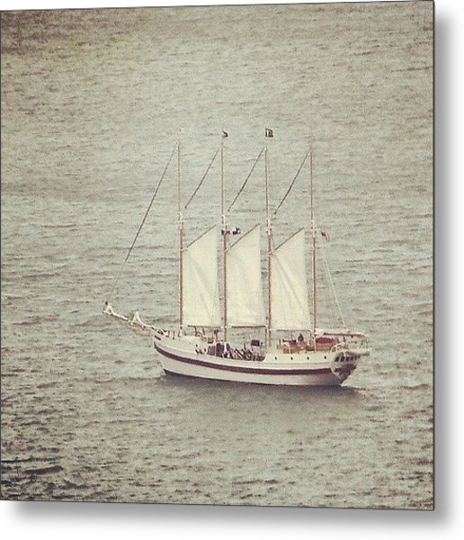 Gray Day And A Tall Ship Metal Print