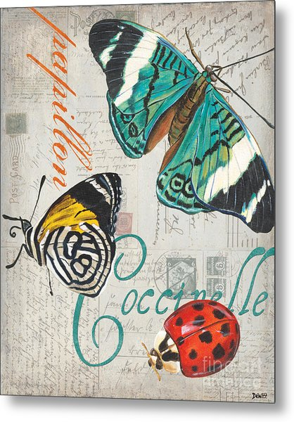 Grey Postcard Butterflies 2 Metal Print