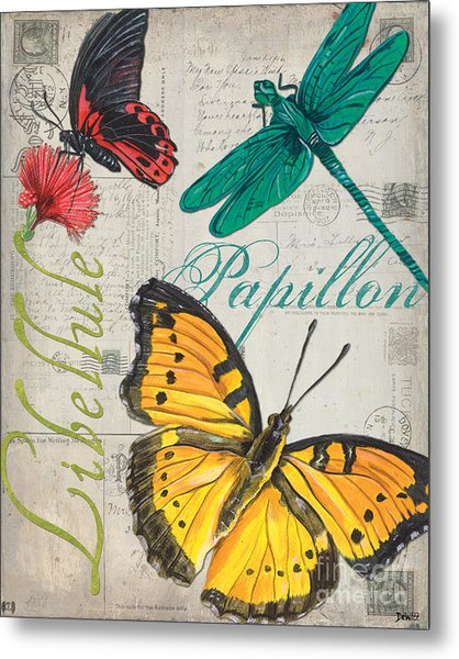 Grey Postcard Butterflies 3 Metal Print
