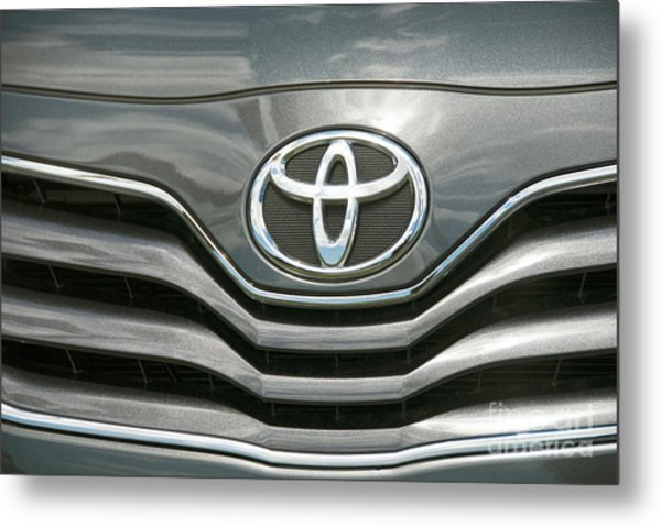 Grey Toyota Grill And Emblem Smile Metal Print