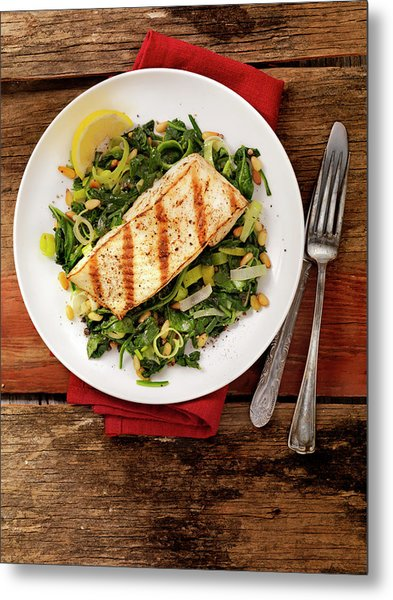 Grilled Halibut With Spinach, Leeks And Metal Print by Lauripatterson