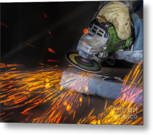 Grinding In A Steel Factory  Metal Print