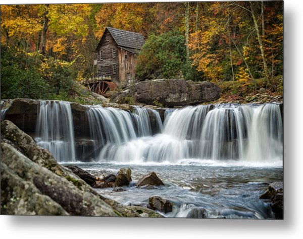 Grist Mill With Vibrant Fall Colors Metal Print