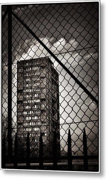 Gritty London Tower Block And Fence - East End London Metal Print