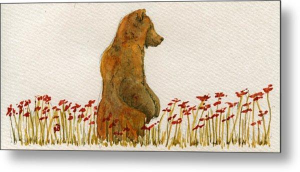 Grizzly Brown Bear Flowers Metal Print