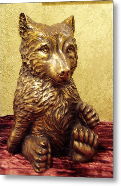 Grizzly Cub Bronze Metal Print