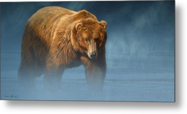 Grizzly Encounter Metal Print