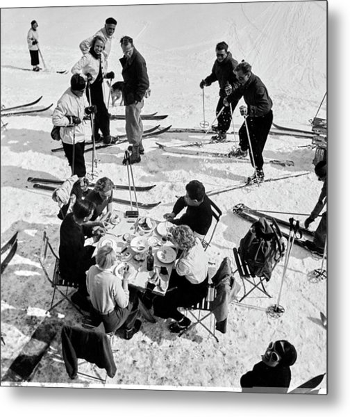 Group Of Skiers At Sant Moritz Metal Print by Roger Schall