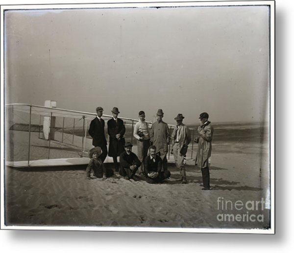 The Wright Brothers Group Portrait In Front Of Glider At Kill Devil Hill Metal Print