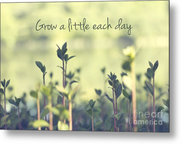 Grow A Little Each Day Inspirational Green Shoots And Leaves Metal Print