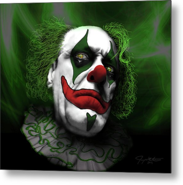 Grumpy Green Meanie Metal Print