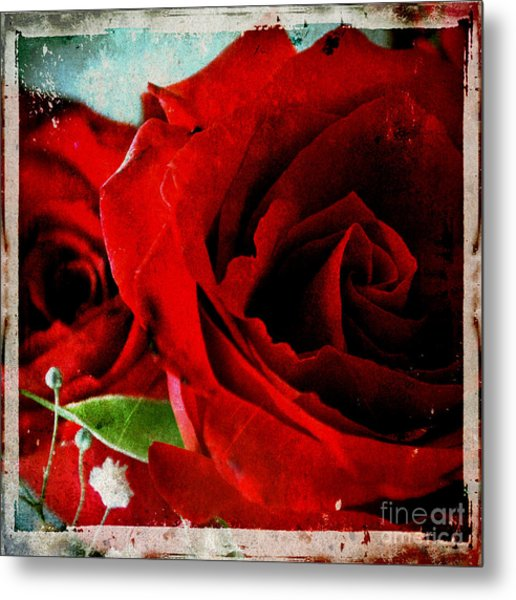 Grunge And Roses Metal Print by Sharon Kalstek-Coty