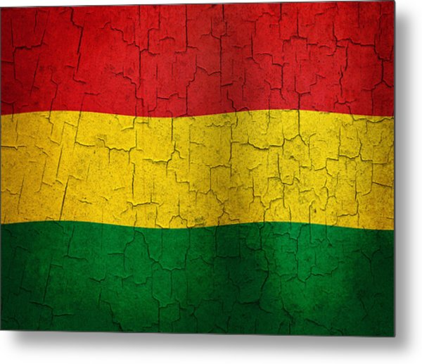 Grunge Bolivia Flag Metal Print