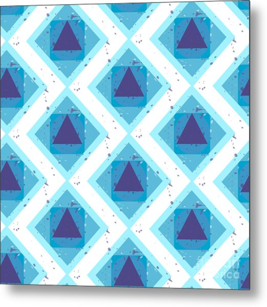Grunge Colorful Abstract Geometric Metal Print by Barsrsind