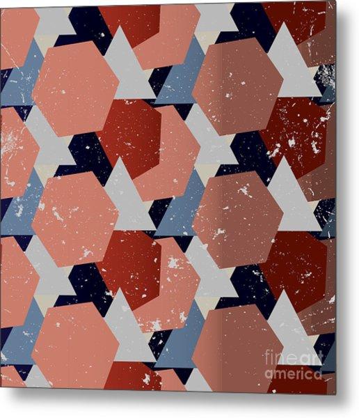 Grunge Geometric Background. Vector Metal Print