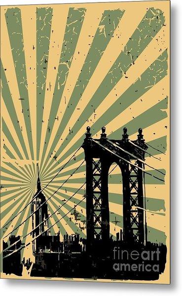Grunge Image Of New York, Poster, Vector Metal Print